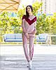 Жіночий велюровий двоколірний прогулянковий спортивний костюм з капюшоном, фото 4