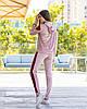 Жіночий велюровий двоколірний прогулянковий спортивний костюм з капюшоном, фото 7