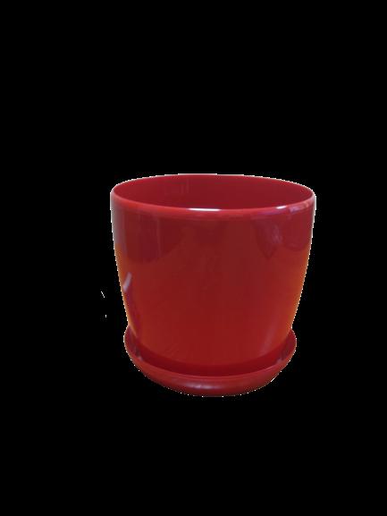 """Вазон цветочный """"Матильда"""" с подставкой V=1,4л (d=14см h=12,5см) красный """"Омела"""""""