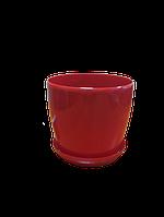 """Вазон цветочный """"Матильда"""" с подставкой V=1,4л (d=14см h=12,5см) красный """"Омела"""", фото 1"""