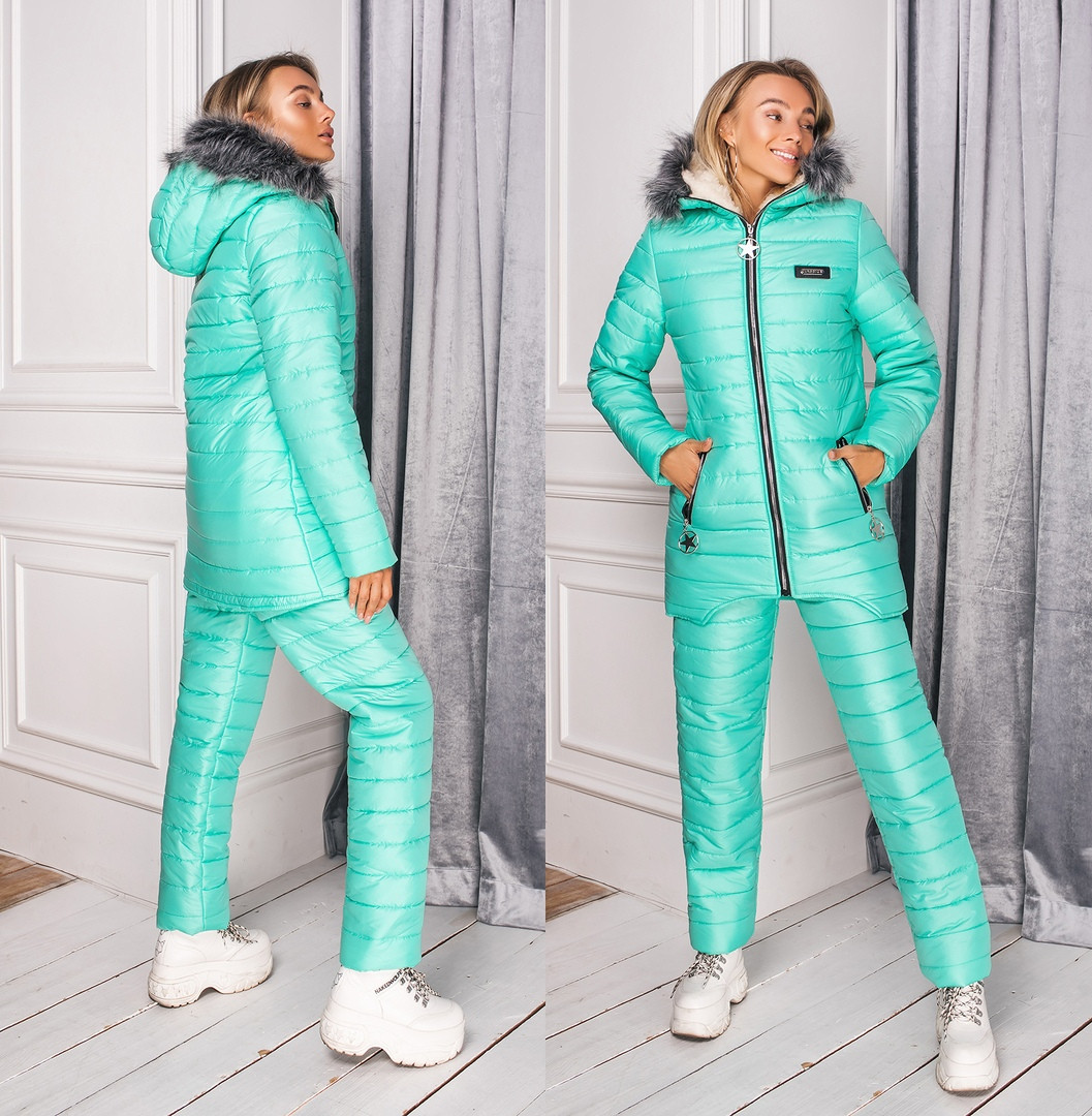 Лыжный костюм. Ткань-плащевка на 200-ом сентипоне+подклад мех овчина. Размеры-42;44;46 код 6322П