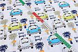 """Лоскут ткани""""Машинки с мишками и пальмы"""" на белом фоне 2399а, размер 41*80 см, фото 3"""