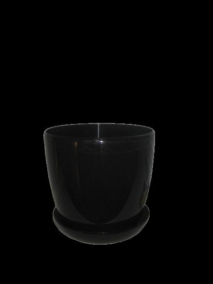 """Вазон цветочный """"Матильда"""" с подставкой V=1,4л (d=14см h=12,5см) черный """"Омела"""""""
