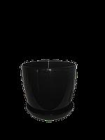 """Вазон цветочный """"Матильда"""" с подставкой V=1,4л (d=14см h=12,5см) черный """"Омела"""", фото 1"""