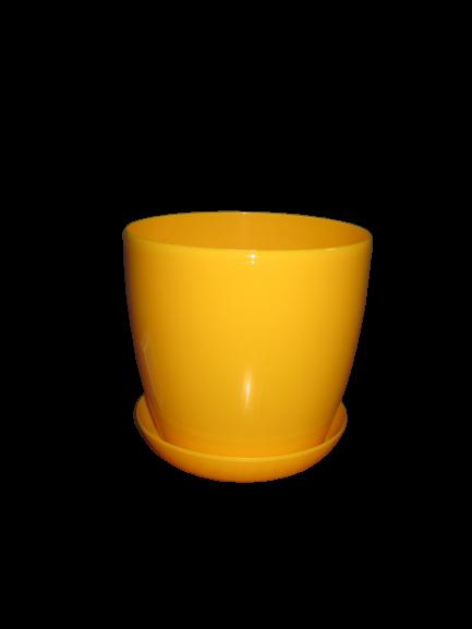 """Вазон цветочный """"Матильда"""" с подставкой V=1,4л (d=14см h=12,5см) темно-желтый """"Омела"""""""