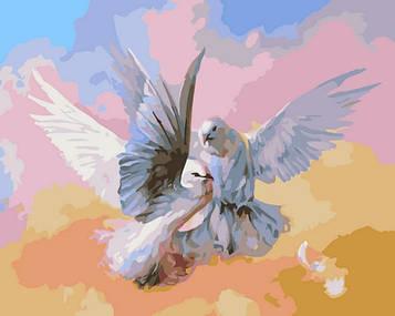 Картина по номерам 40×50 см. Babylon Влюбленные голубки (SW007)