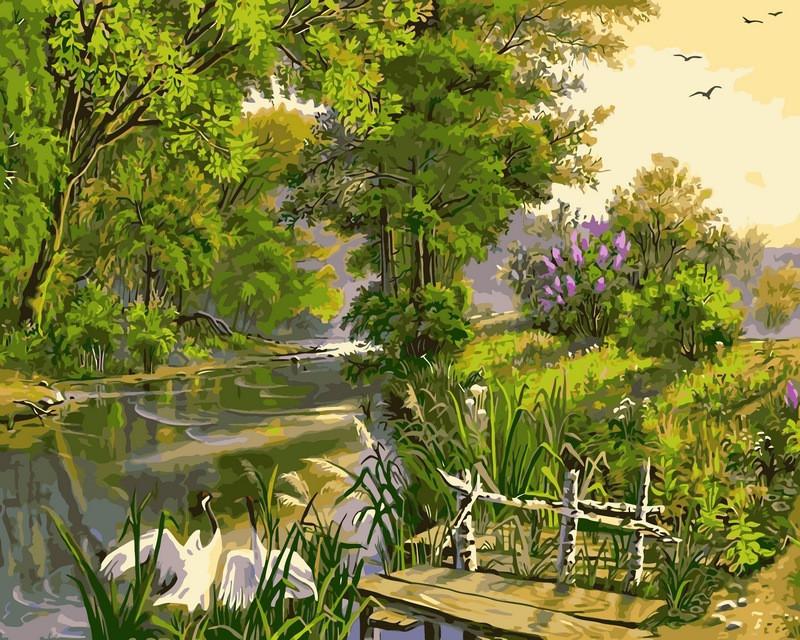 Картина за номерами 40×50 див. Babylon Біля річки Художник Віктор Циганов (VP167)