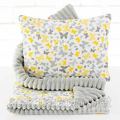 Плед и подушка с бабочками серого цвета