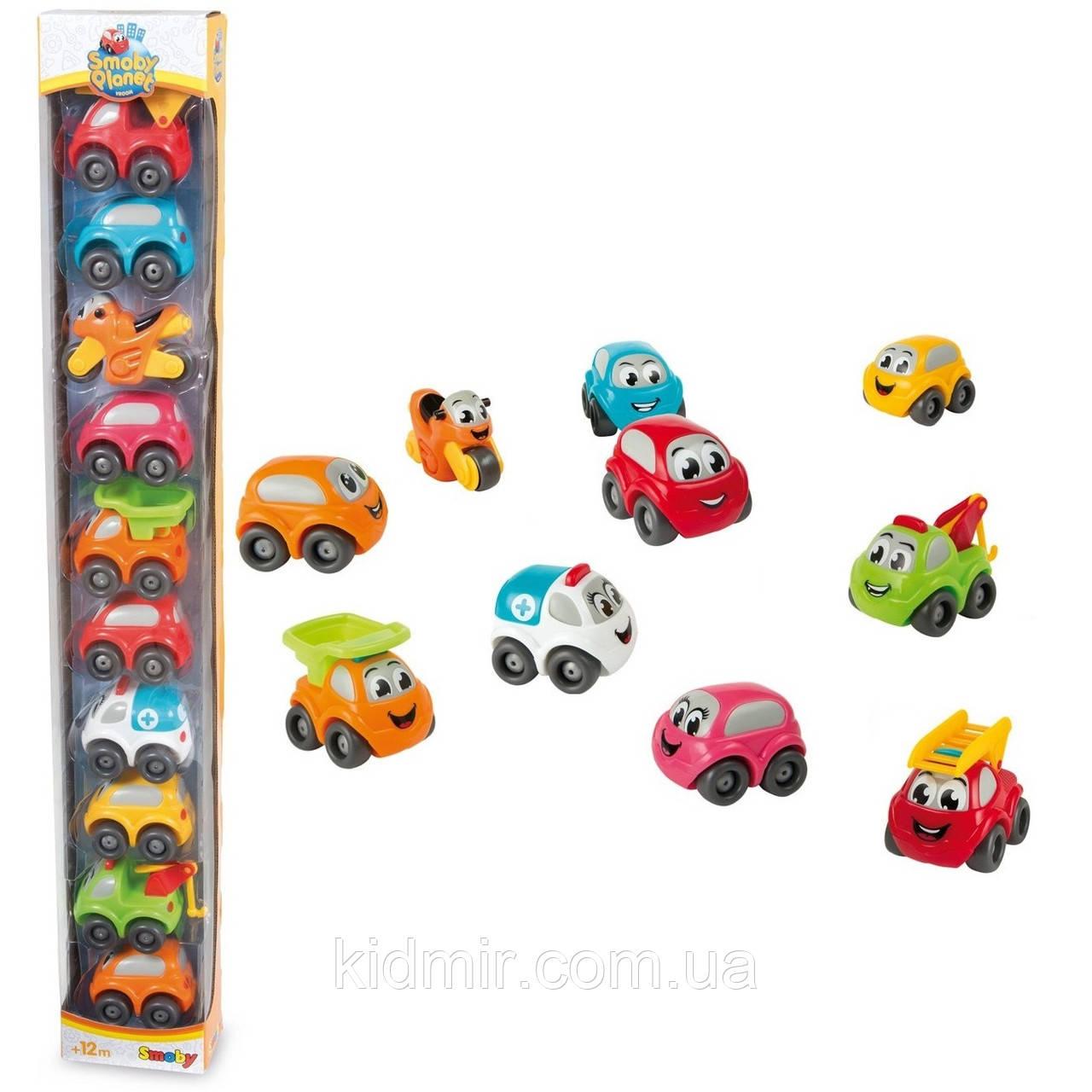 Набор машинок для треков, паркингов и гаражей 10 штук Broom Vroom Planet Smoby 120105