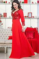 Красное вечернее платье в пол Жасмин