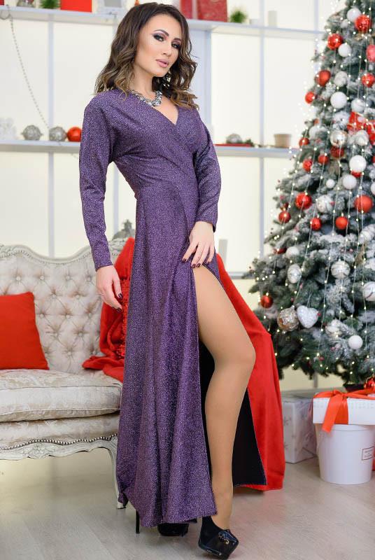Длинное платье с люрексом Валери, сиреневое