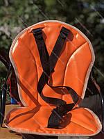 Оранжевое Велокресло детское на прямую раму, металлическая основа