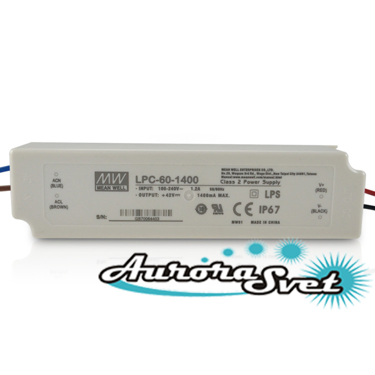 Драйвер светодиода Импульсный источник питания AC/DC, LED-драйвер, 58.8 Вт, 9...42 В, 1.4 А, IP67