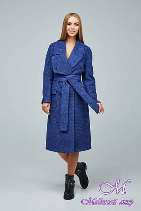 Женское синее демисезонное пальто (р. 44-54) арт. 1216 Тон 1020, фото 2