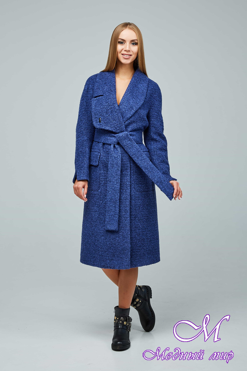 Женское синее демисезонное пальто (р. 44-54) арт. 1216 Тон 1020