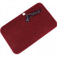 Электрический коврик подогрев Теплик 50х30 с термоизоляцией темно-красный