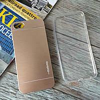 Чехлы для Iphone 5/5s Motomo + силиконовый (золотистый)