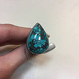 Бирюза красивое кольцо капля с бирюзой в серебре. Кольцо бирюза 18 размер Индия!, фото 2