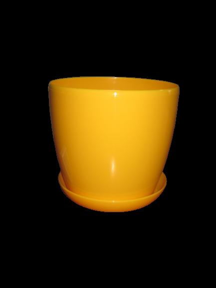"""Вазон цветочный """"Матильда"""" с подставкой V=2,2л (d=16см h=14,5см) темно-желтый """"Омела"""""""