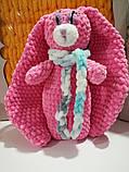 Зайчик м'яка іграшка в'язана, розмір 26 см, антистрес, холлофайбер, фото 4