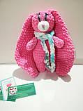 Зайчик м'яка іграшка в'язана, розмір 26 см, антистрес, холлофайбер, фото 5