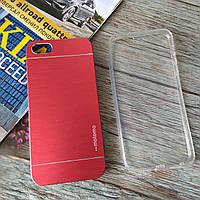 Чехлы для Iphone 5/5s Motomo + силиконовый (малиновый)