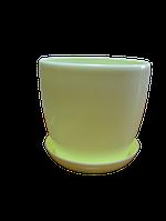 """Вазон цветочный """"Матильда"""" с подставкой V=2,2л (d=16см h=14,5см) желтый """"Омела"""""""
