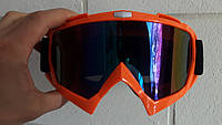 Кроссовые мото очки маска Оранжевые, с затемнённым стеклом, фото 1