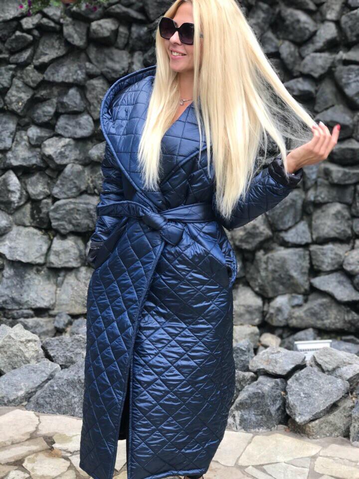 розумна ціна Нові надходження детальні фотографії Длинное стеганое пальто на синтепоне с капюшоном в расцветках 2913 ...
