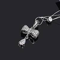 Подвеска серебряная Бант с каплей