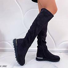 ТІЛЬКИ 36,38 р! Жіночі чоботи євро зима фіолетові / баклажан еко-замш висота 46 см