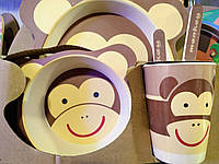 Набор детской бамбуковой посуды Обезьянка