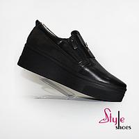 Туфлі шкіряні спортивні на платформе з молнією чорного кольору, фото 1