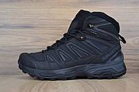 Мужские зимние кроссовки на меху в стиле Salomon X ULTRA, кожа, черные 42 (26,5 см)