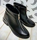 Ferre стильні жіночі демісезонні чоботи натуральна шкіра змійка попереду маленький квадратний каблук, фото 2