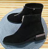 Ferre стильні жіночі демісезонні чоботи натуральна шкіра змійка попереду маленький квадратний каблук, фото 9