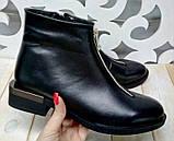 Ferre стильные женские демисезонные ботинки  натуральная кожа змейка впереди маленький квадратный каблук, фото 6