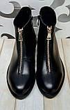 Ferre стильные женские демисезонные ботинки  натуральная кожа змейка впереди маленький квадратный каблук, фото 7