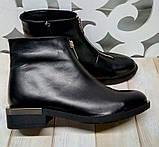Ferre стильные женские демисезонные ботинки  натуральная кожа змейка впереди маленький квадратный каблук, фото 8