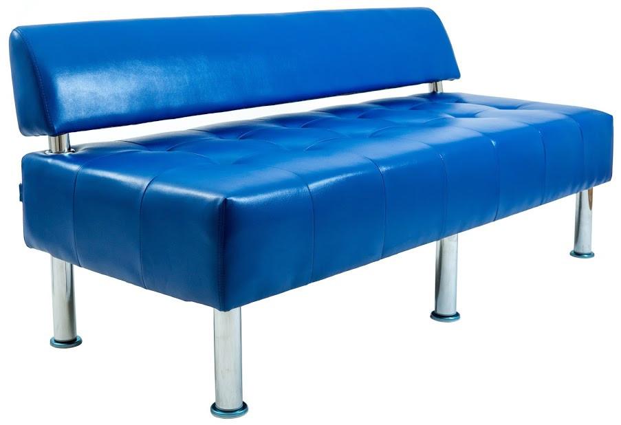 Диван Офис 155 см 3 кат со спинкой синий