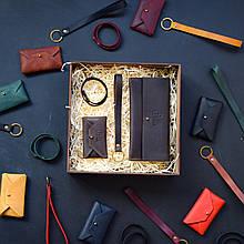"""Подарочный набор кожаных аксессуаров """"Lille"""": портмоне, брелок, браслет и визитница-конверт Коричневый"""