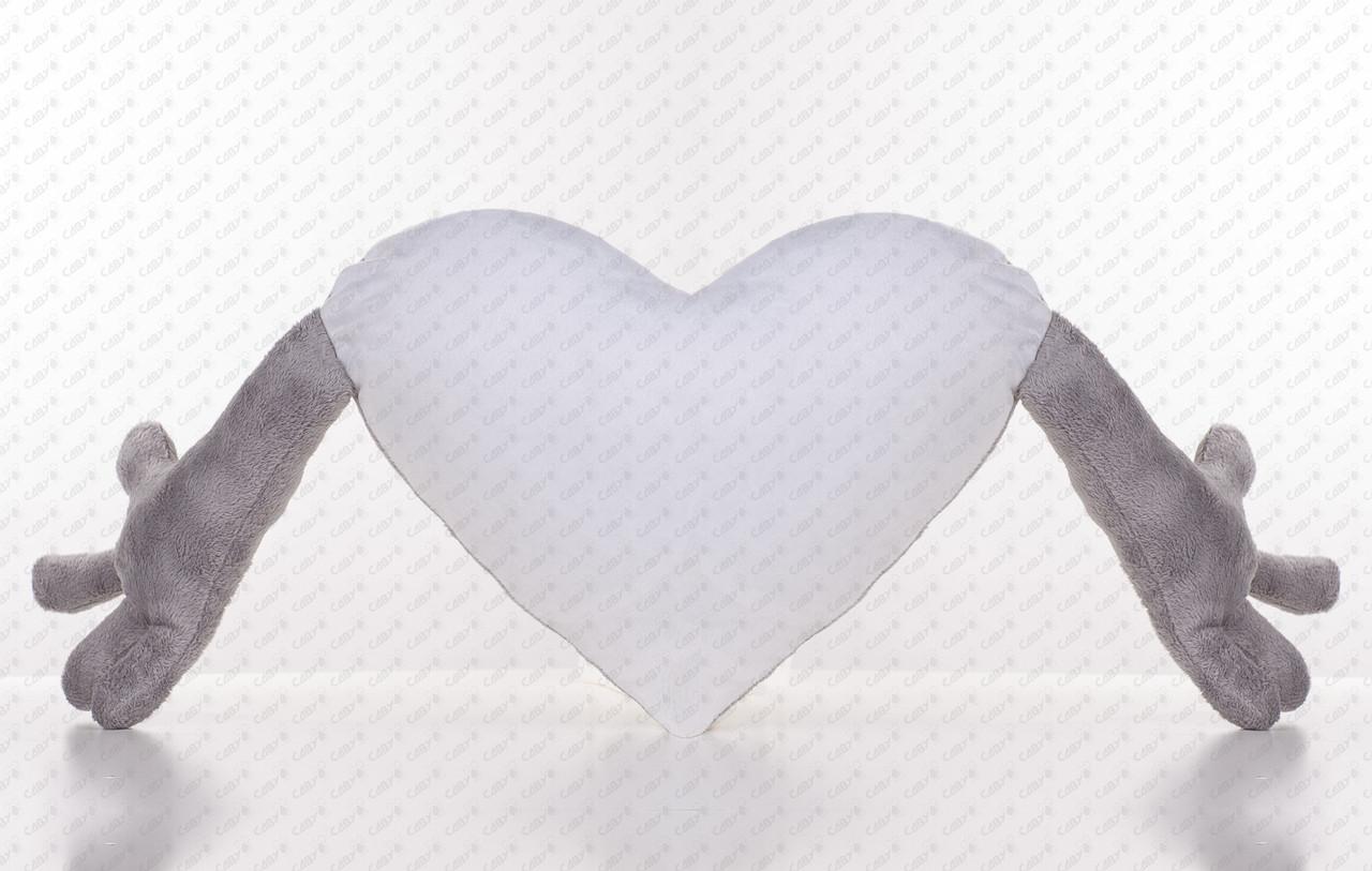 Плюшева Подушка серце обнімашка для сублімації колір сірий