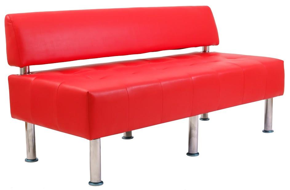 Диван Офис 155 см 2 кат со спинкой красный