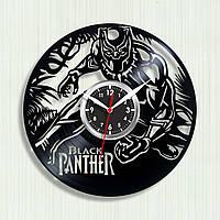 Часы Black Panther Чёрная Пантера виниловые часы Супергерой Марвел Marvel Часы настенные Декор из винила 30 см