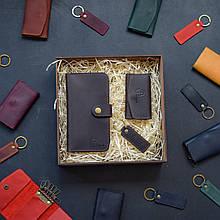 """Подарочный набор кожаных аксессуаров """"Milano"""": портмоне, брелок и ключница Коричневый"""