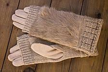Женские зимние перчатки стрейч+вязка бежевые, фото 2