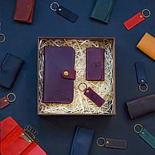 """Подарочный набор кожаных аксессуаров """"Milano"""": портмоне, брелок и ключница Марсала"""