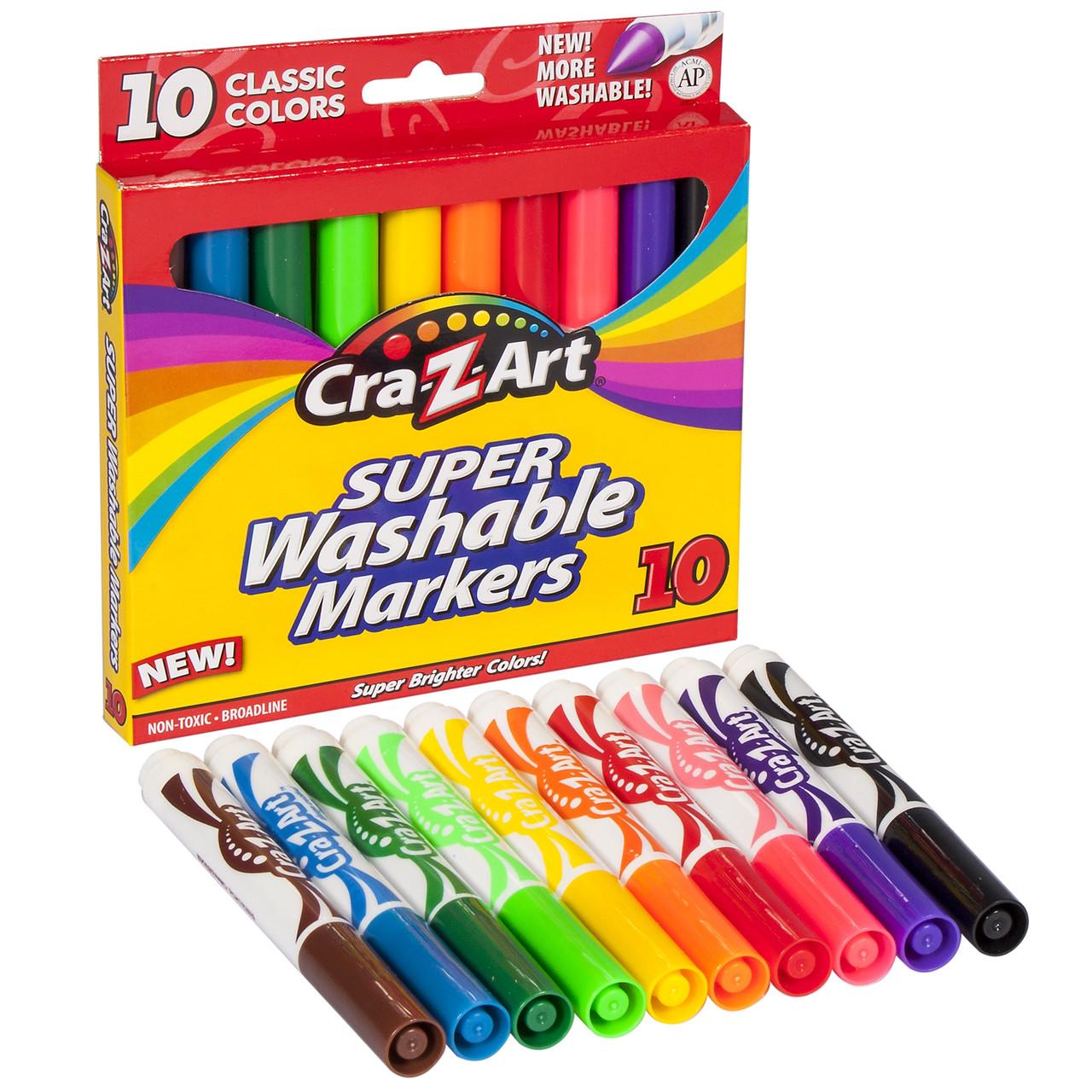 Фломастеры, маркеры смываемые 10 цветов Cra-Z-Art Washable Markers 10 Count