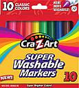 Фломастеры, маркеры смываемые 10 цветов Cra-Z-Art Washable Markers 10 Count, фото 2