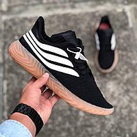 Адидас Собаков черные Мужские кроссовки черно-белые Adidas Sobakov Black White Gum